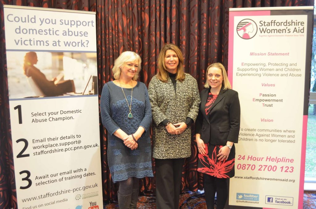 DPCC Sue Arnold with Dickie James and Charlotte Almond from Staffordshire Womens Aid